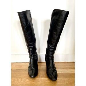 Aquatalia black waterproof leather high heel boots